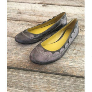 Boden 39 8 Gray Suede Scalloped Ballet Shoes